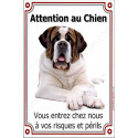 Plaque 24 cm LUXE Attention au Chien, Saint-Bernard couché