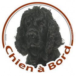 """Sticker rond """"Chien à Bord"""" 15 cm, Cocker Américain noir Tête"""