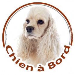 """Sticker autocollant rond """"Chien à Bord"""" 15 cm, Cocker Américain blanc platine Tête, adhésif vitre voiture"""