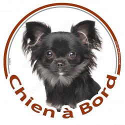 """Sticker autocollant rond """"Chien à Bord"""" 15 cm, Chihuahua noir à poils longs Tête, adhésif vitre voiture"""