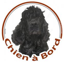 """Sticker autocollant rond """"Chien à Bord"""" 15 cm, Cocker Américain noir Tête, adhésif vitre voiture chien"""