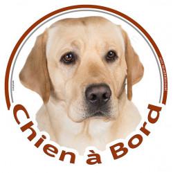 """Sticker autocollant rond """"Chien à Bord"""" 15 cm, Labrador sable Tête, adhésif vitre voiture"""