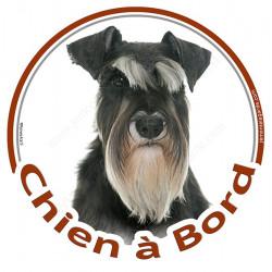 """Sticker rond """"Chien à Bord"""" 15 cm, Schnauzer noir et blanc Tête"""