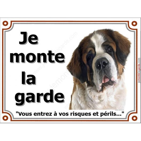 Saint-Bernard Tête, Plaque portail Je Monte la Garde, panneau affiche pancarte, risques périls St-Bernard attention au chien