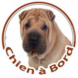 """Sticker rond """"Chien à Bord"""" 15 cm, Shar-Peï fauve fauve marron Tête"""