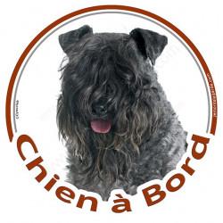 """Sticker autrocollant rond """"Chien à Bord"""" 15 cm, Terrier Kerry Blue Tête, adhésif vitre voiture"""