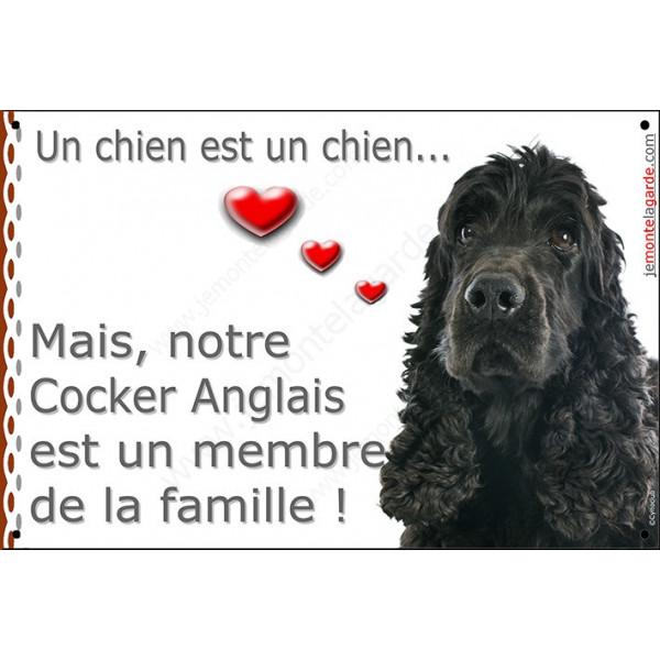Cocker Anglais Noir Couché, Plaque Portail attention au chien membre de la famille, pancarte, affiche panneau