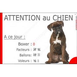 Boxer Bringé assis, Pancarte Portail drôle, affiche plaque panneau marrant nombre de Facteurs, Voleurs, Ballons !