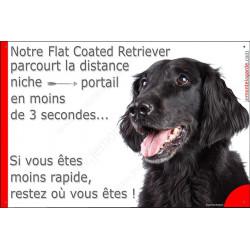 Flat Coated Tête, Plaque Portail humoristique, pancarte, affiche panneau drôle Attention chien parcourt la distance niche portai