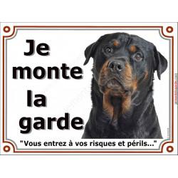 Plaque 4 tailles LUXE je Monte la Garde, Rottweiler Tête