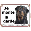 """Rottweiler Tête, plaque portail """"je Monte la Garde"""" 3 tailles LUXE"""