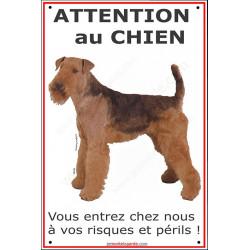 Airedale, plaque verticale Ici je veille, affiche panneau pancarte, airdale, attention au chien