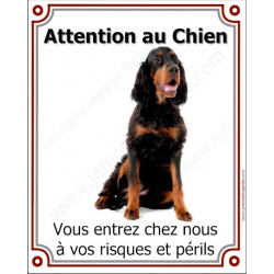 Plaque 26,5 cm LUXE Attention au Chien, Setter Gordon