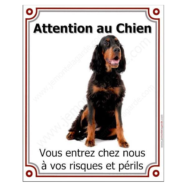 Setter Gordon assis, Plaque Portail Verticale attention au chien, pancarte affiche panneau, risques périls