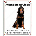 "Setter Gordon assis, plaque veticale ""Attention au Chien"" 26,5 cm LUX"