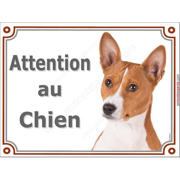 Plaque portail 2 tailles LUXE  Attention au Chien, Basenji Tête pancarte panneau