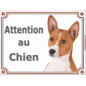 "Basenji Tête, plaque portail ""Attention au Chien"" 2 tailles LUXE"
