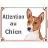 Plaque 2 tailles LUXE Attention au Chien, Basenji Tête