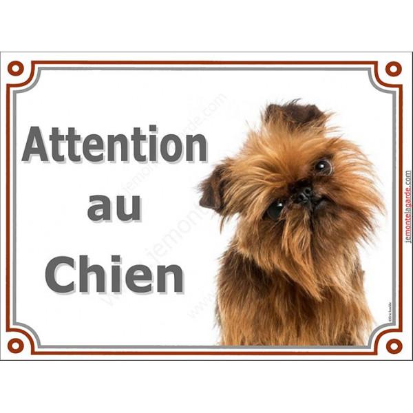 Plaque 2 tailles LUXE Attention au Chien !  Griffon Bruxellois tête pancarte panneau