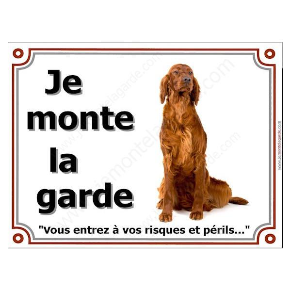 Setter Irlandais, Pancarte portail je monte la garde, plaque panneau rouge marron assis, risques périls attention au chien
