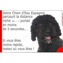 Plaque humour24 cm Chien d'Eau Espagnol noir parcourt distance Niche - Portail moins 3 secondes, pancarte attention au chien pan