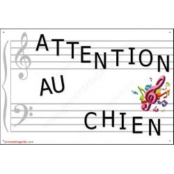 Musique, Plaque Portail Attention au Chien, pancarte, affiche panneau Musicien