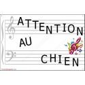 """Plaque portail """"Attention au Chien"""" Musique 24 cm A"""