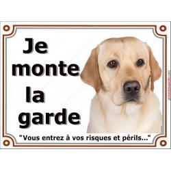 Labrador Sable Tête, Plaque portail Je Monte la Garde, panneau affiche pancarte, risques périls attention au chien