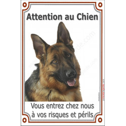 "Berger Allemand Poils Courts Tête, plaque verticale ""Attention au Chien"" 24 cm verticale"