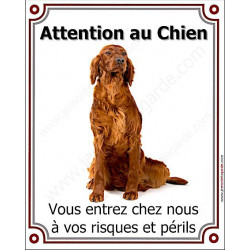 Plaque portail verticale 25 cm Attention au Chien, Setter Irlandais assis