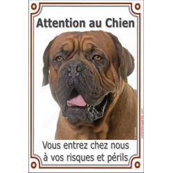"""Dogue de Bordeaux masque noir tête, plaque verticale """"Attention au Chien"""" 24 cm LUXE"""