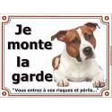 """Am-Staff Fauve couché, plaque """"Je Monte la Garde"""" 3 tailles LUX B"""