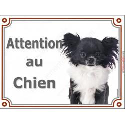 Plaque portail 2 tailles LUXE Attention au Chien, Chihuahua noir et blanc à poils longs Tête, pancarte panneau affiche