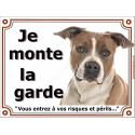 """Am-Staff Fauve et Blanc Tête, plaque """"Je Monte la Garde"""" 2 tailles LUXE"""