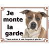 Plaque 2 tailles LUXE je Monte la Garde, Am-Staff Fauve et Blanc Tête