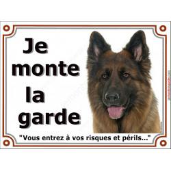 Plaque portail 2 tailles Je Monte la Garde, Berger Allemand Poils Longs Tête, pancarte risques et périls attention au chien pann
