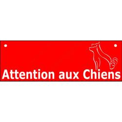 """Plaque ou sticker """"Attention auX ChienS"""" Barre Rouge 2 tailles pluriel A"""