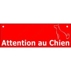"""Plaque ou sticker Portail """"Attention au Chien"""" Barre Rouge 2 tailles CLR A"""
