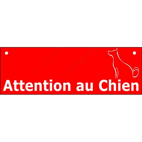 Plaque Portail 2 tailles Attention au Chien Barre Rouge, pancarte panneau