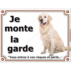 Golden Retriever Assis, Plaque portail je monte la garde, affiche pancarte risques et périls attention au chien
