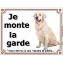 Plaques 4 tailles, LUXE je Monte la Garde, Golden Retriever Assis