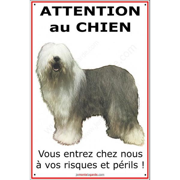 Bobtail, Pancarte Portail Verticale, attention au chien, panneau plaque affiche risques et périls