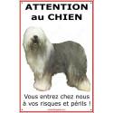 """Bobtail, plaque portail """"Attention au Chien""""  24 cm ECO"""