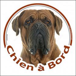 """Sticker autocollant rond """"Chien à Bord"""" 15 cm, Dogue de Bordeaux face masque noire Tête, adhésif voiture"""