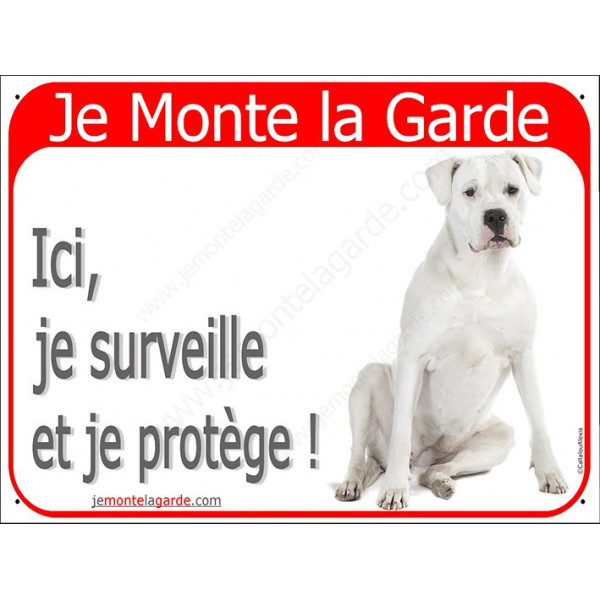 Dogue Argentin Assis, Plaque Portail Rouge Je Monte la Garde,  surveille protège, pancarte, affiche panneau attention au chien