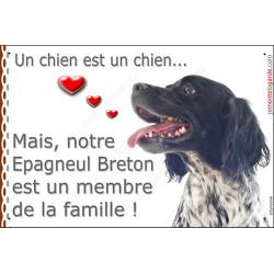Plaque 24 cm LOVE Membre de la Famille, Epagneul Breton Noir tête