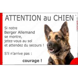 """Berger Allemand, plaque humour """"Jetez Vous au Sol, Attention au Chien"""" 24 cm"""