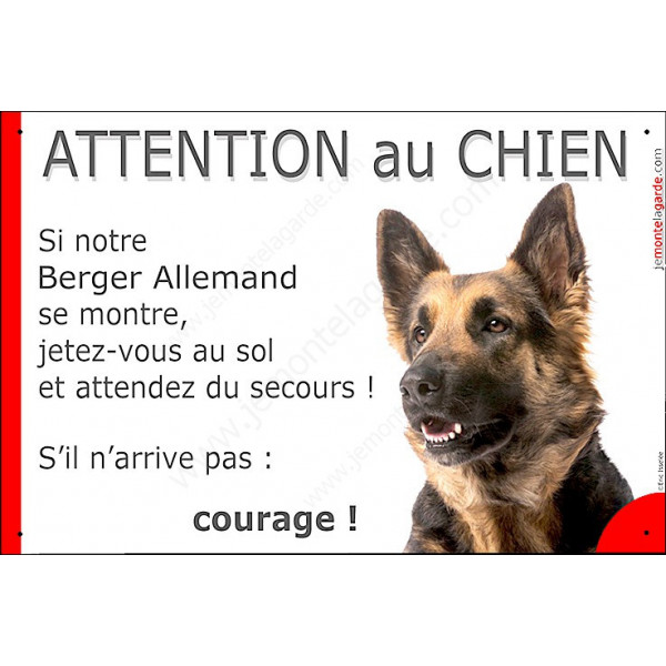 berger allemand poils mi longs t te panneau attention au chien marrant dr le affiche plaque dr le. Black Bedroom Furniture Sets. Home Design Ideas