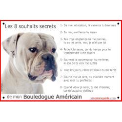 Plaque portail 8 Souhaits Secrets, Bouledogue Américain blanc tête pancarte panneau idée cadeau réglement