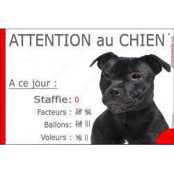 Plaque 24 cm NBR, Nombre de Voleurs, ballons, facteurs, Staffie Noir bringé Tête Attention au Chien